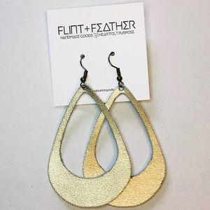 Flint+Feather Metallic Leather Cutout Earrings NWT